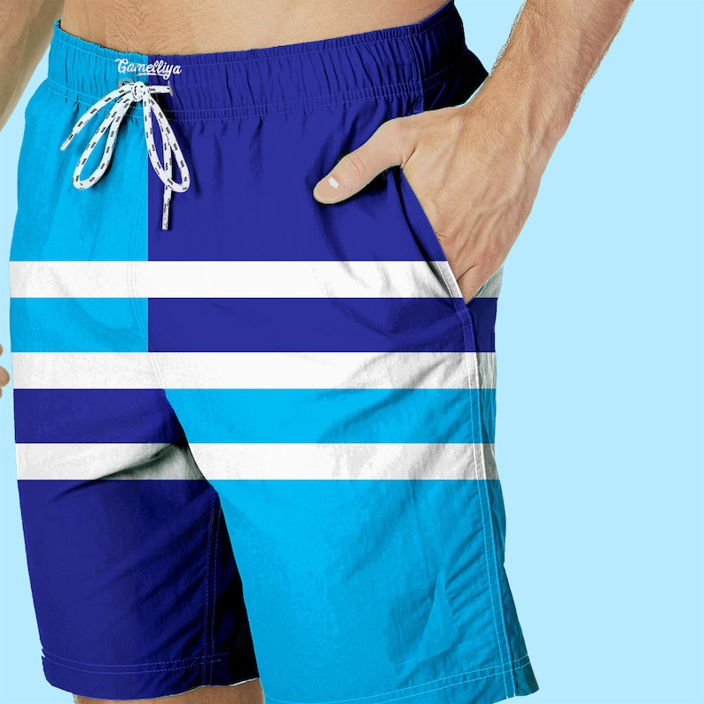 f7400b724c Blue Striped Shorts Men Swimwear Swimming Short Swim | Etsy