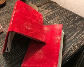 Luxurious Sylvia Plath Inspired Hand Stitched Red Notebook