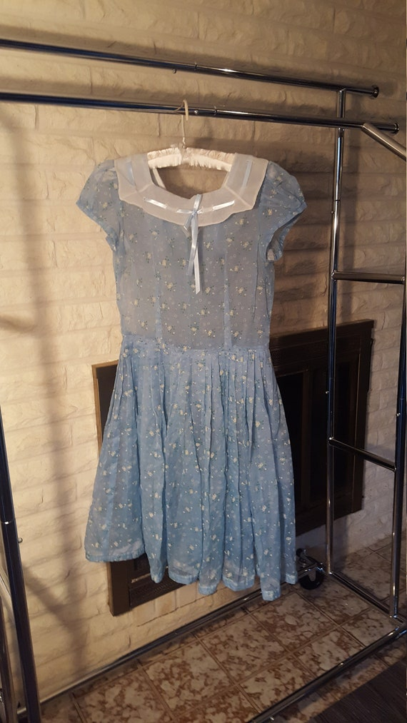 50s blue floral organdy day dress