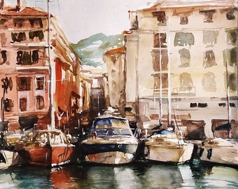 painting of the Old port in Nice