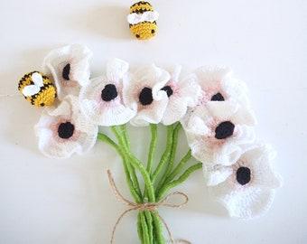 Patron de fleurs au crochet - Explications anémones et abeilles au crochet