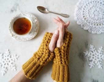 Mittens - English and French crochet pattern - Patron des mitaines au crochet - motifs épis de blé