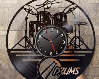 Drum Music Vinyl Record Clock Drummer Gifts Vinyl Clock Office Decor Music Clock Drummer Gift Teacher Gift Gift For Girlfriend Music Gift