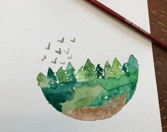 Forest Watercolor Blank Card Great for Father's Day!
