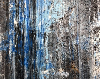 """Gerhard Richter Inspired Blue Painting, Richter Style Abstract Blue Painting on 16"""" x 20"""" Canvas, Richter Inspired Painting, Blue Painting"""