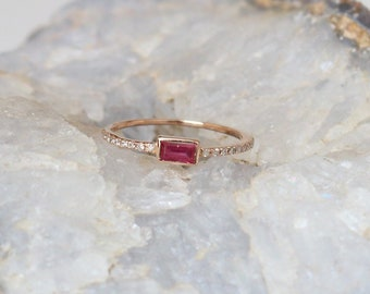 18k Yellow Gold Cabochon Ruby Wedding Cluster Ring 18k Baguette Arizona Turquoise With Trio Diamond Ring Handmade Fine Jewelry Christmas