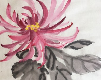 Chrysanthemum Flower Chinese Freestyle Painting By 廖湘霞