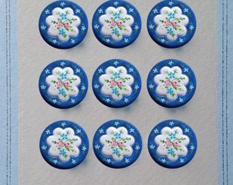 clay floral rose buttons