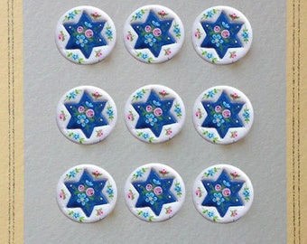 hand made clay floral star buttons
