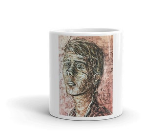 Mug with portrait of a troubled artist.