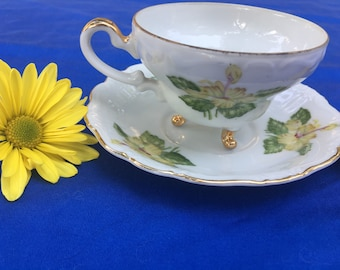 Vintage UCAGCO China Yellow Hibiscus Mid-Century Cup and Saucer Set