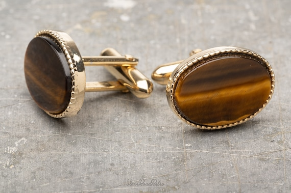 Swank Blue Tiger Eye Cuff Links Vintage 1970/'s Men/'s Shirt Suit Silver Tone Accessories Jewelry Oval Stone Birthday Father/'s Day Gift