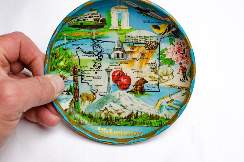 Mid Century State of Washington 6 Tin Souvenir Tray Map