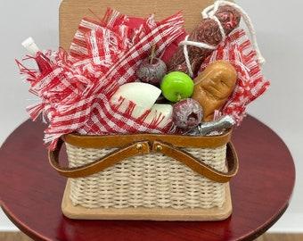 Handmade picnic hamper, 1/12 scale