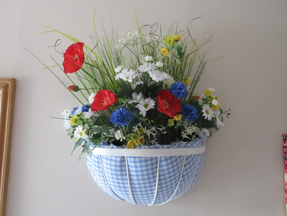 Silk Flower Arrangement Wall Planter White Blue Red Poppy Etsy