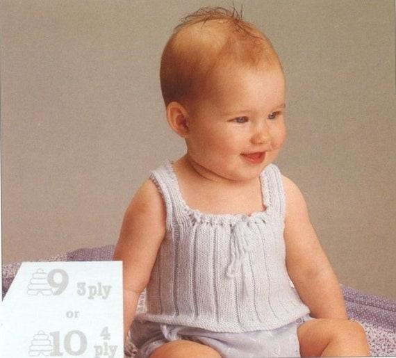 Vintage Baby Knitting Pattern Baby Singlet Two Styles Pdf Etsy