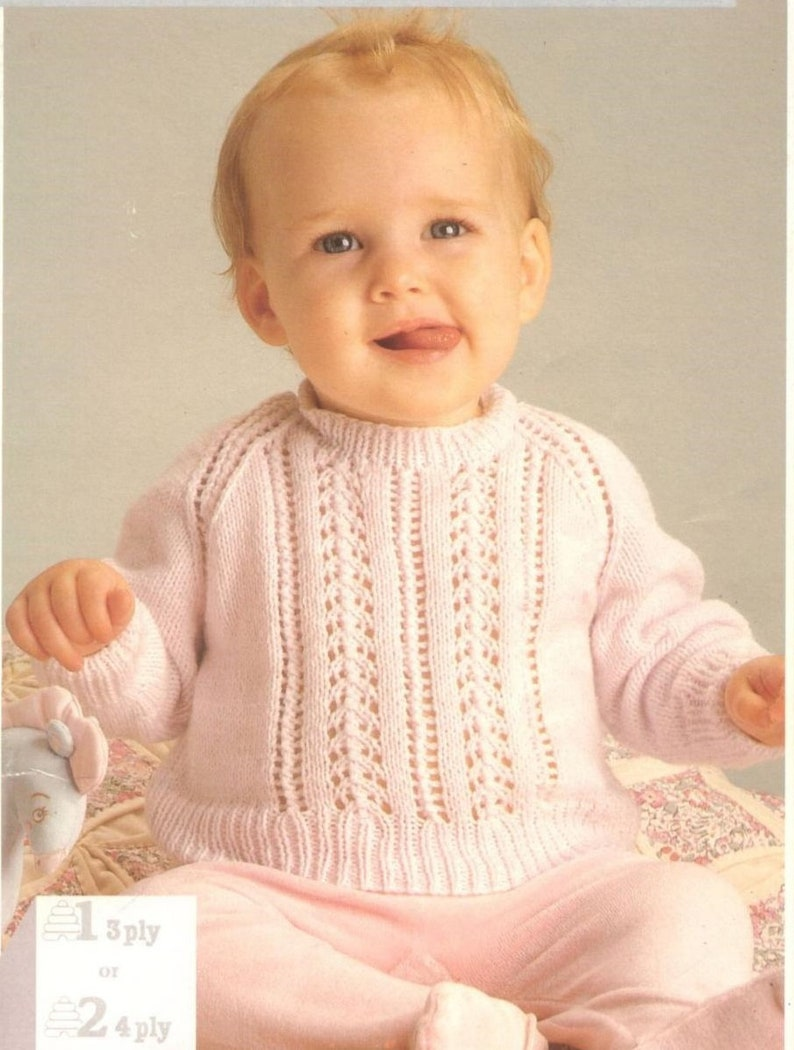 "20/""   DK Knitting Pattern Vintage Smocked  Baby Dress /& Coat 18/"""