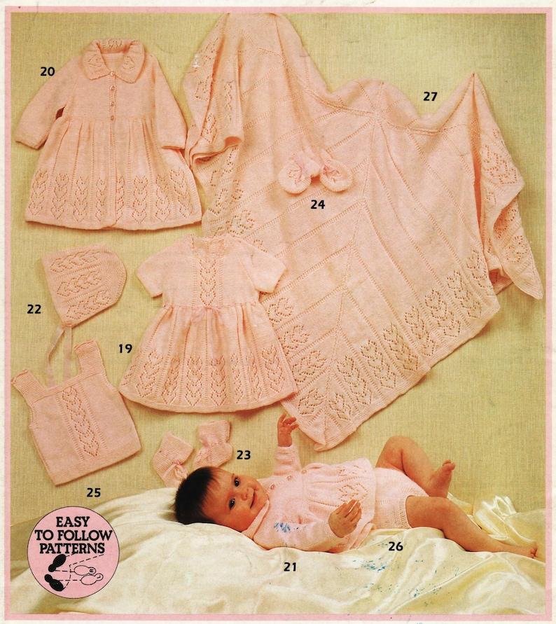 f943a36e7d52 Baby Knitting Pattern PDF Matinee Dress Coat Jacket Mittens