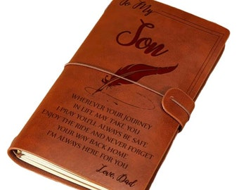 NEW Leather bound 'To My Son' Diary Journal Handcrafted Love Dad
