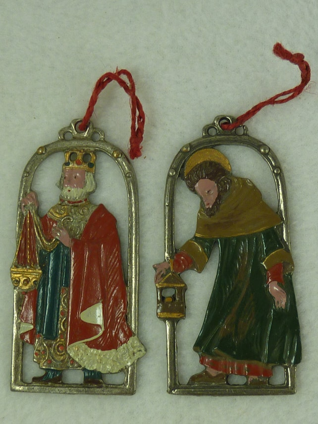 Vintage German Pewter Art Christmas Tree Ornaments Wisemen