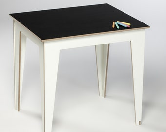 Wooden Kids Table. Kid Room Furniture. Chalkboard Table For Kids. Wood Table  Minimal. Kids Room Decor. Playing And Drawing Table Children.
