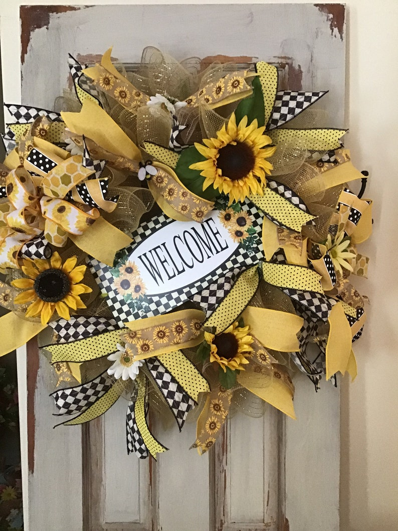 Mothers Day Gift Summer Wreath Black and Yellow Welcome Sunflower Summer Wreath Front Door Hanging Welcome Wreath Sunflower Wreath