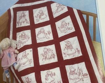 Sunbonnet Girls.Nursery Quilt Blocks.Stamped for Embroidery.1999 Pattern.Kid Friendly.Beginner Kit.Teens.12 Different Girls.Baby Shower Gift