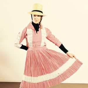 Country Western Two Piece Skirt Set Country Dancing Skirt Set Vintage Picnic Skirt Set Red and White Checkered Skirt Set Size X-Small
