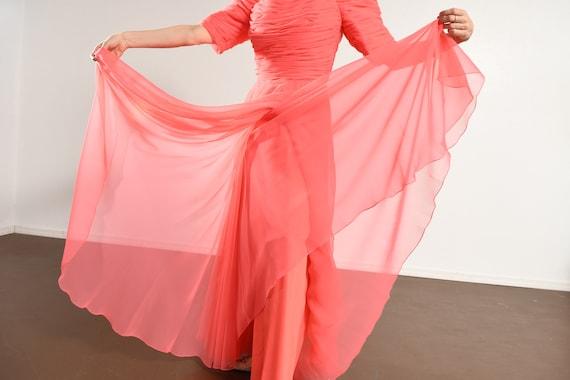 70's Pink Chiffon Prom Dress/ Chiffon Prom Dress/… - image 9