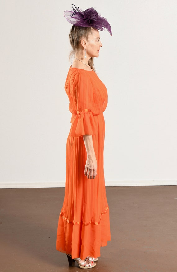 Carrie Couture/ Vintage Chiffon Prom Dress/ 70's … - image 4