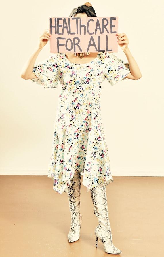 LOVELYN/ 80's Bell Sleeve Floral Dress/ 80's Asymm