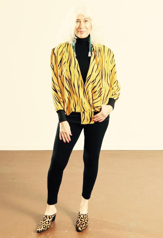 90's Animal Print Sweat-Zhirt/ Zebra Print Cardig… - image 1