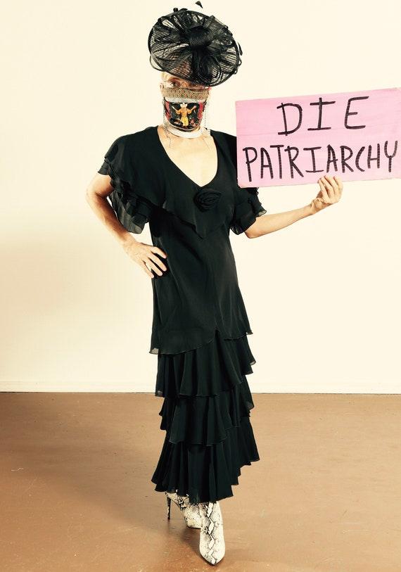 After Dark 80's Dress/ Vintage Black Chiffon Dres… - image 1