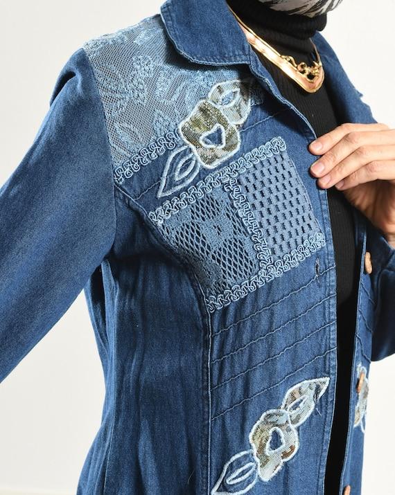 Styleworks/ Denim Duster/ Embroidered Denim jacke… - image 8