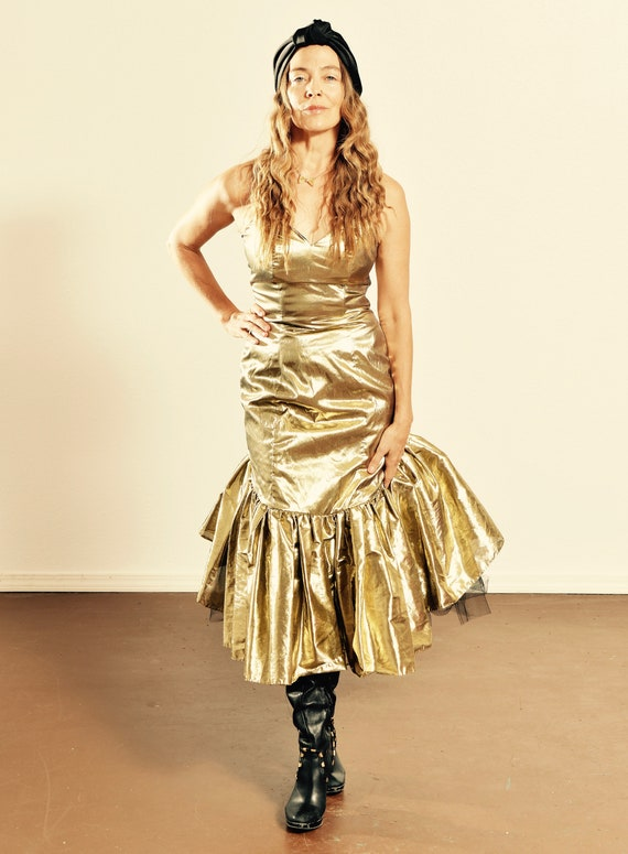 80's Gold Lame Dress/ Gold Lame Strapless Dress/ G