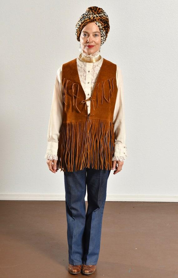 70's Suede Fringe Vest/ Vintage Suede Fringe Vest… - image 2