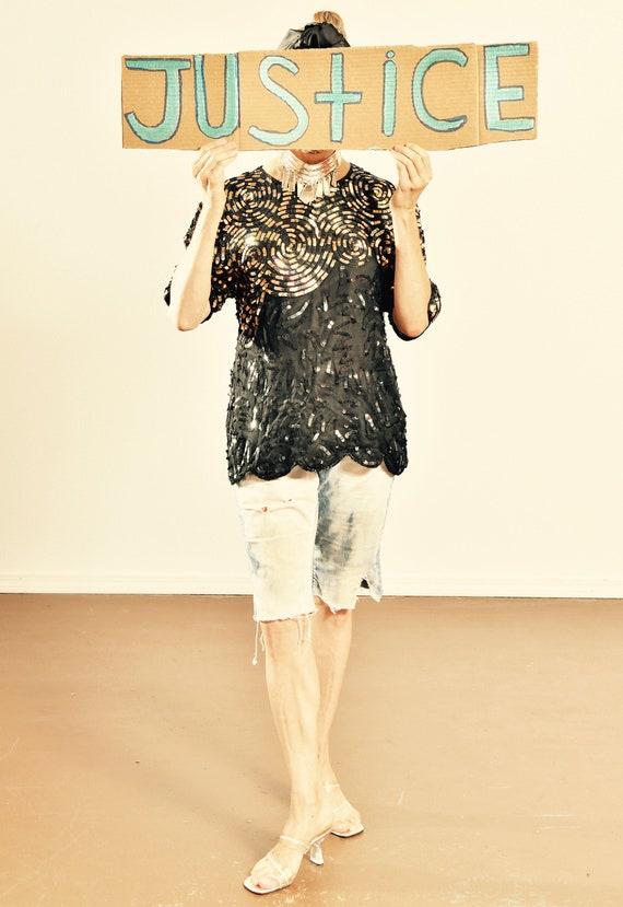 Silky Nites/ Silk Sequin Top/ Gold Sequin Top/ Bla
