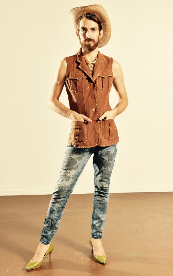 80's Denim Studded Vest/ Southwest Denim Studded V