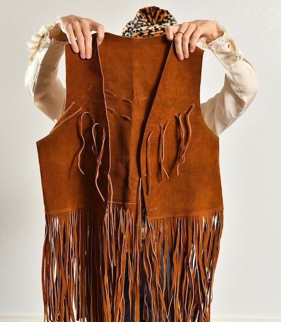 70's Suede Fringe Vest/ Vintage Suede Fringe Vest… - image 8
