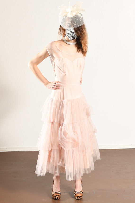 1960's Pink Prom Dress/ Vintage Tulle Prom Dress/… - image 2