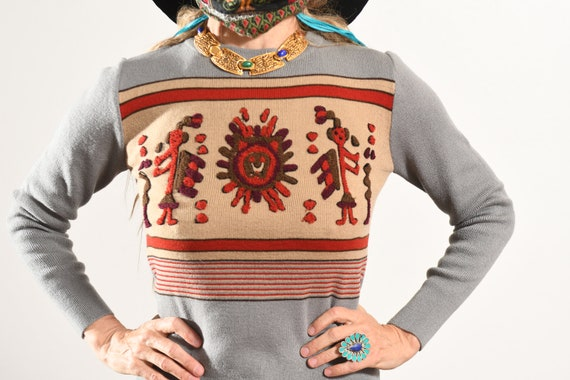 Vintage South American Sweater Embroidered/ 70's … - image 6