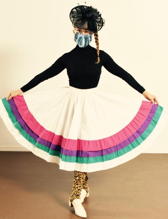 Southwest Circle Skirt/ Ruffle Circle Skirt/ Vinta