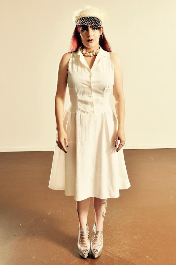 Vintage Shirt Dress/ Vintage Sundress/ White Shirt