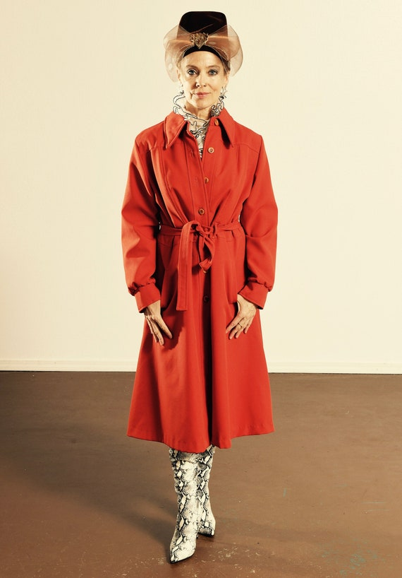 70's Trench Coat/ Vintage Red Trench Coat/ 70's Re