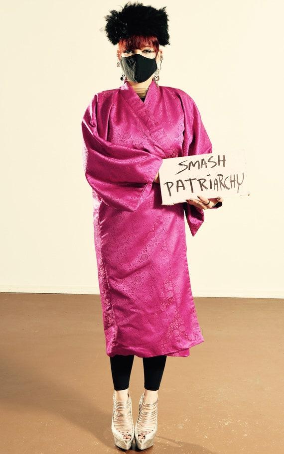 Vintage Kimono/ Fuchsia Kimono/ Pink Kimono Robe/