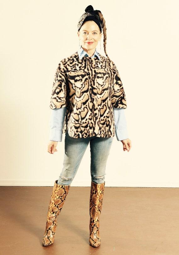 Faux Fur Leopard Print Cape/ Leopard Print Cape/ A