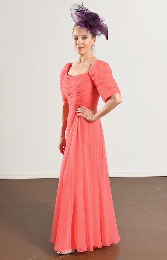 70's Pink Chiffon Prom Dress/ Chiffon Prom Dress/… - image 6