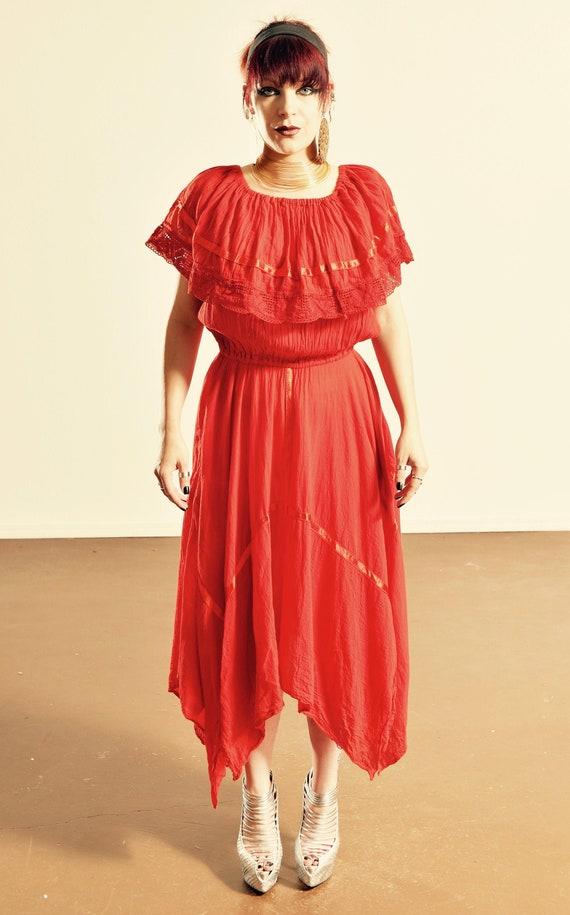 70's Gauze Cotton Dress/ Vintage Gauze Cotton Dres