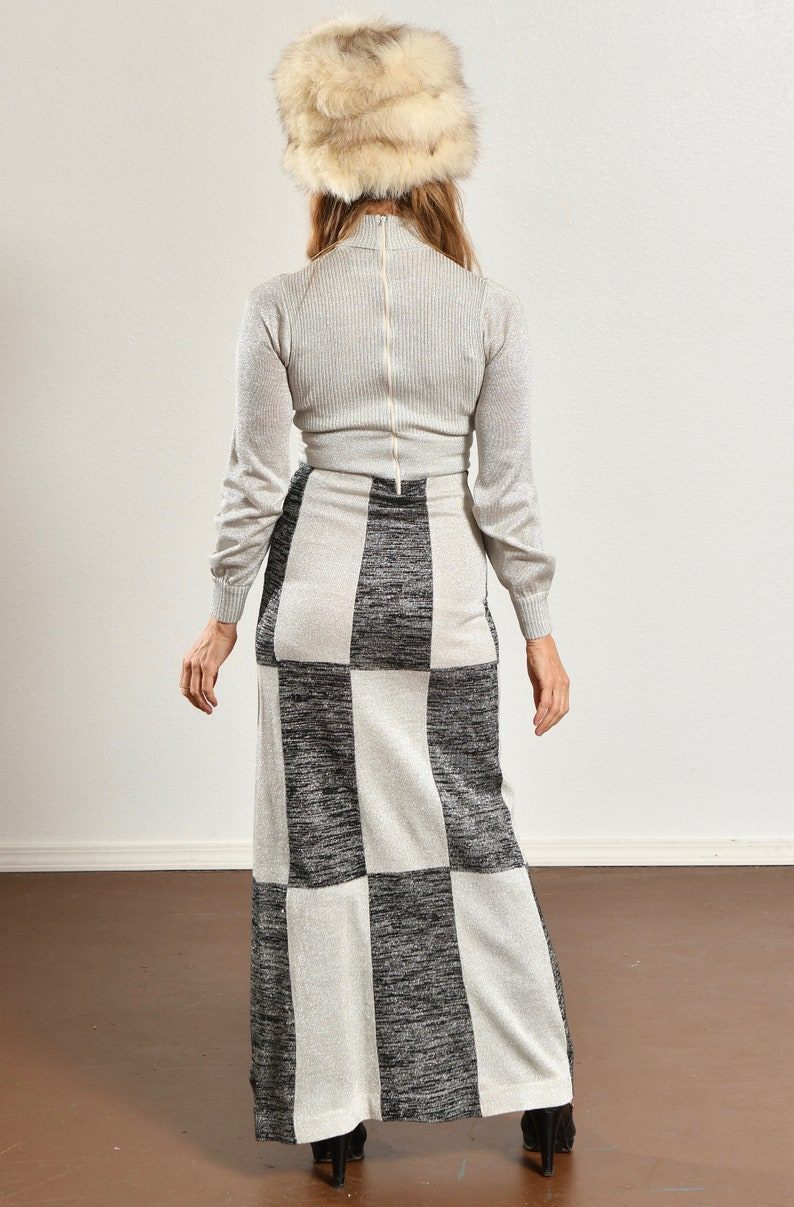 Wenjilli Vintage Metallic Dress Metallic Patchwork Knit Dress 70/'s Metallic Knit Dress Vintage Silver Knit Dress Size XS