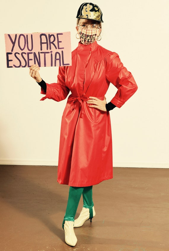 Voyager West/ Vintage Red Trench Coat/ Red Trench